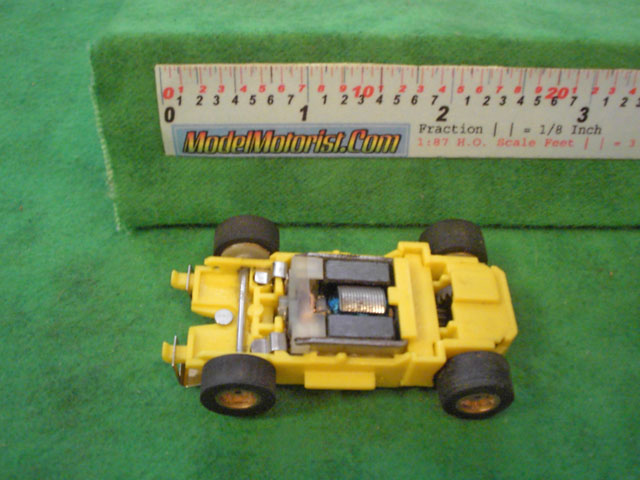 Top view of MR1 Racing Yellow HO Slot Car Chassis