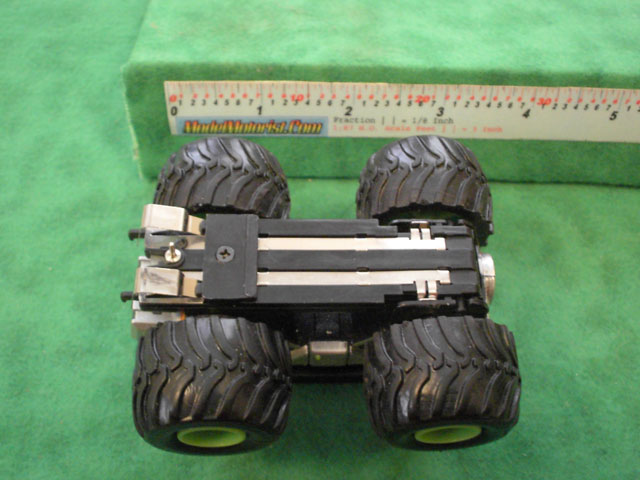 Bottom view of Monster Truck HO Slot Car Chassis