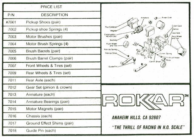 Exploded view of Rokar HO Slot Car Chassis