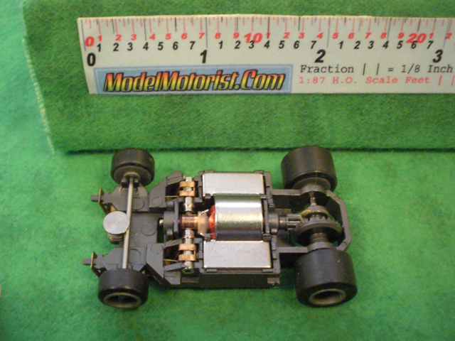 Top view of Rokar M HO Slot Car Chassis