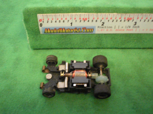 Top view of Rokar HO Slot Car Chassis