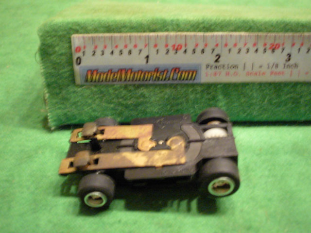Bottom view of Rotafast Lighted HO Slot Car Chassis