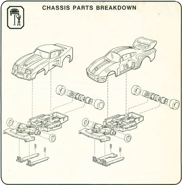 Exploded view of Matchbox RPS A HO Slotless Car Chassis