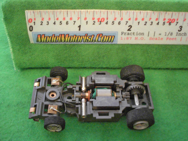 Top view of Aurora Screeechers Slot Car Chassis