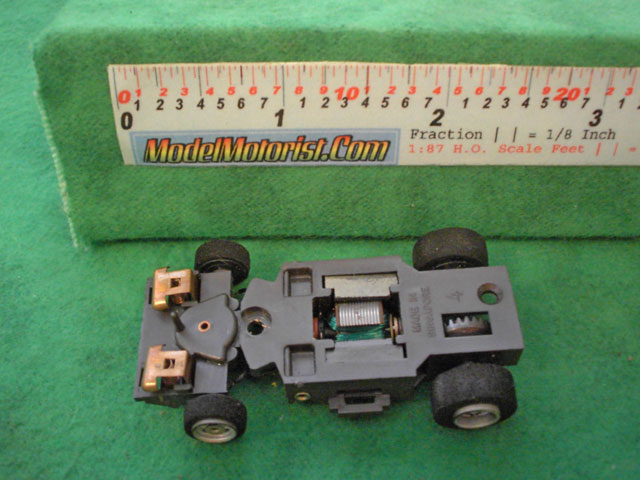Bottom view of Aurora Screeechers Slot Car Chassis