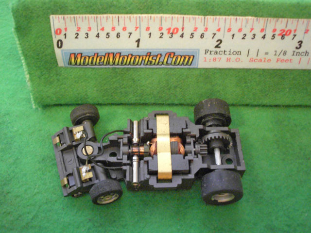 Top view of Aurora Magna-Steering Slot Car Chassis