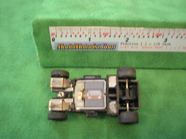 Bottom view of Sky Fighters HO Slot Car Chassis