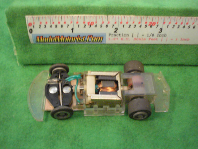 Top view of Tyco Command Control Racing A Car HO Slotless Car Chassis