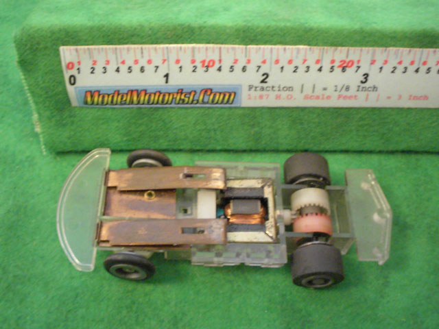 Bottom view of Tyco Command Control Racing B Car HO Slotless Car Chassis