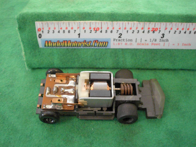 Top view of Tyco Total Control Racing Jam Car HO Slotless Car Chassis