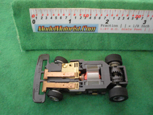 Bottom view of Tyco Total Control Racing Passing Car Narrow A Chassis