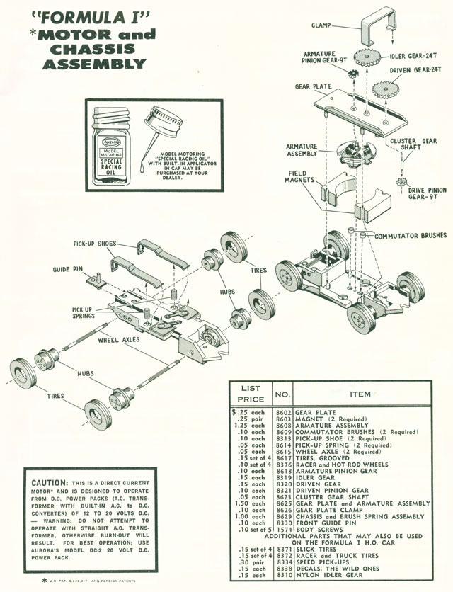 Exploded view of Aurora Thunderjet Formula 1 / Slim Line Slot Car Chassis