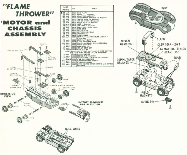 Exploded view of Aurora Thunderjet Flame Throwers Slot Car Chassis