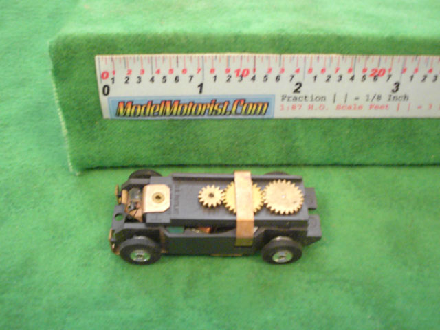 Top view of Aurora Thunderjet Flame Throwers Slot Car Chassis