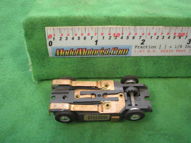 Bottom view of Aurora Thunderjet Flame Throwers Slot Car Chassis