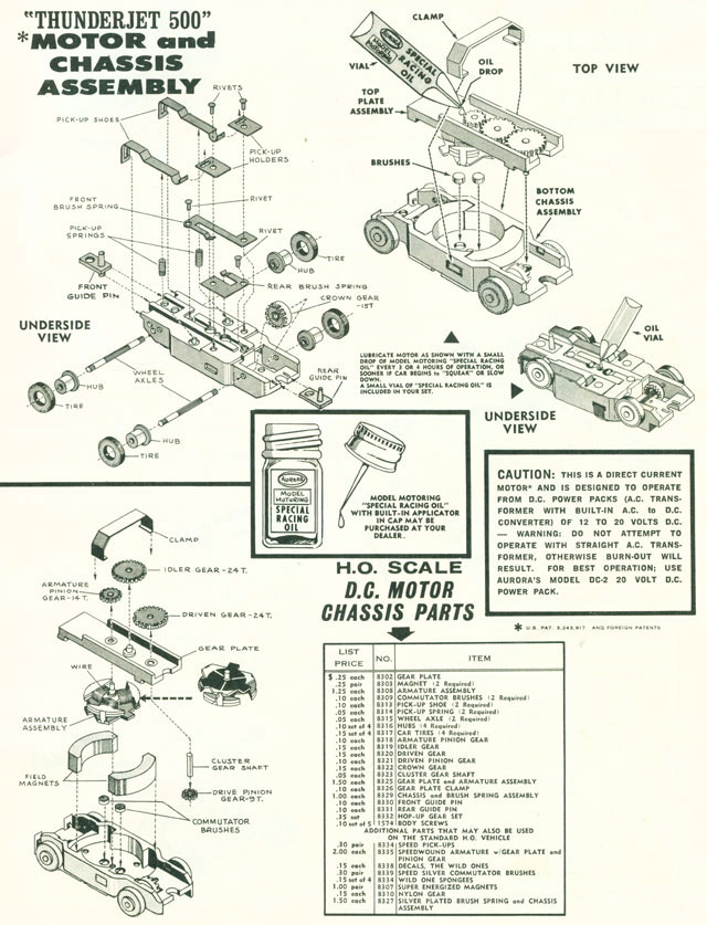 Exploded view of Aurora Thunderjet Slot Car Chassis