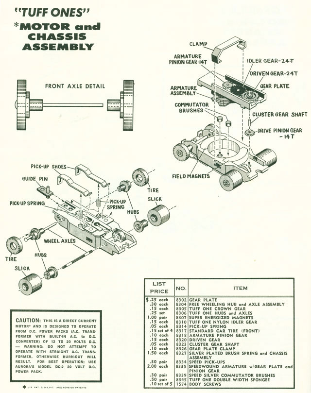 Exploded view of Aurora Thunderjet Tuff Ones Slot Car Chassis