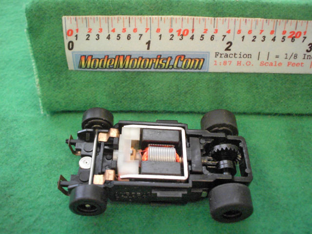 Top view of Aurora Tomy Super Racing Turbo Slot Car Chassis