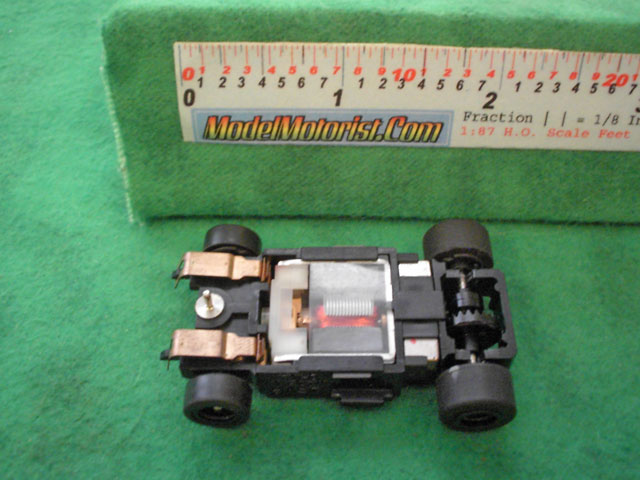 Bottom view of Aurora Tomy Super Racing Turbo Slot Car Chassis