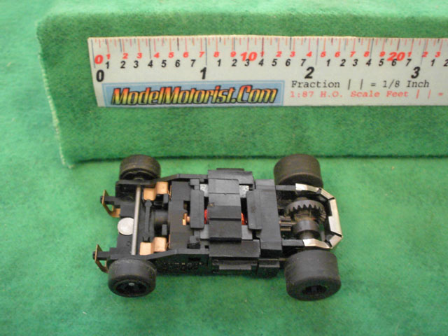 Top view of Aurora Tomy Super G+ with Metal Clip Slot Car Chassis