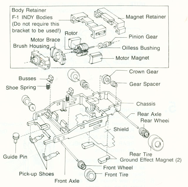 Exploded view of Aurora Tomy Super G+ with Metal Clip Slot Car Chassis