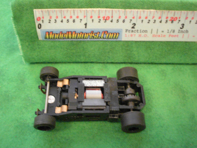 Top view of Aurora Tomy Super G+ Slot Car Chassis