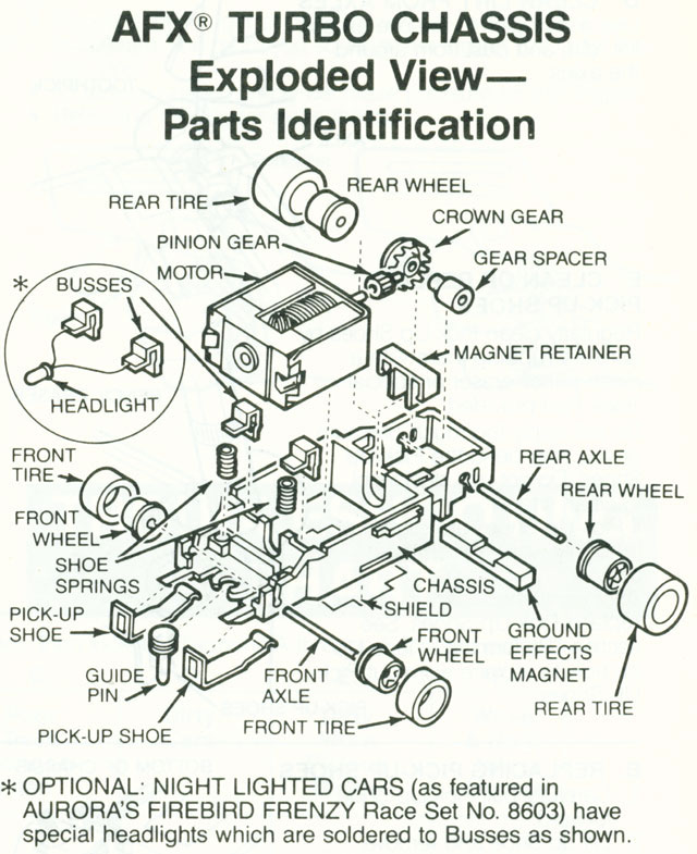 Exploded view of Aurora Tomy Turbo Slot Car Narrow Chassis