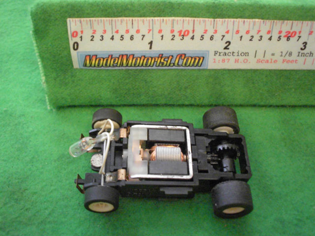 Top view of Aurora Tomy Lighted Turbo Slot Car Narrow Chassis