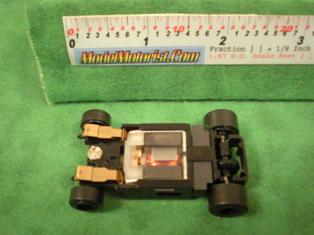 Bottom view of Aurora Tomy Turbo Slot Car Narrow Chassis
