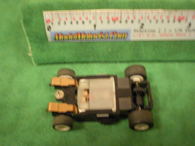 Bottom view of Aurora Tomy Turbo Slot Car Wide Chassis