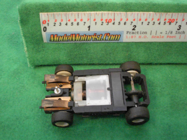 Bottom view of Tyco TR-X Leader HO Slot Car Chassis