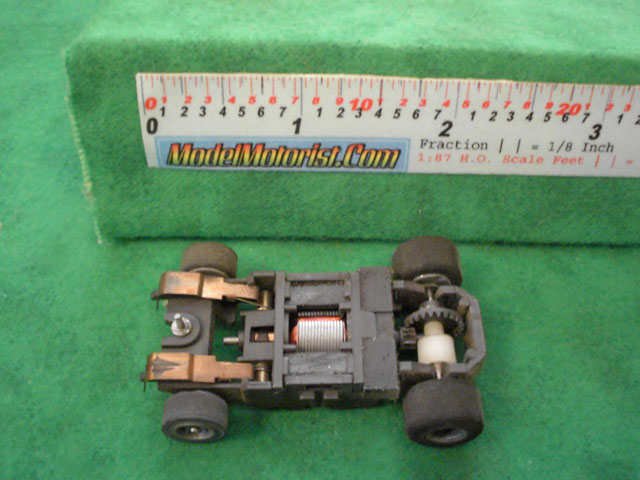 Bottom view of Tyco Magnum 440 Narrow HO Slot Car Chassis