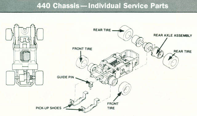 Exploded view of Tyco Magnum 440 Narrow HO Slot Car Chassis