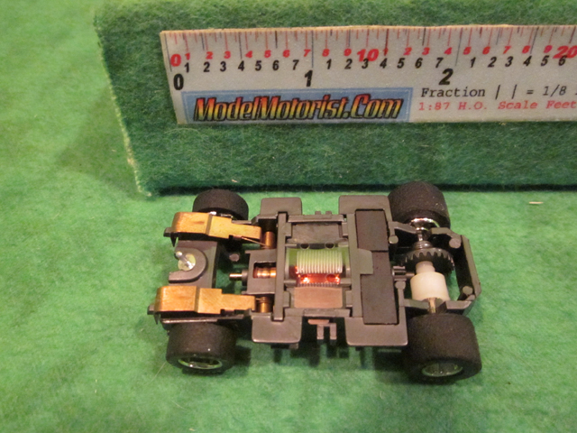 Bottom view of Tyco Magnum 440 Wide HO Slot Car Chassis