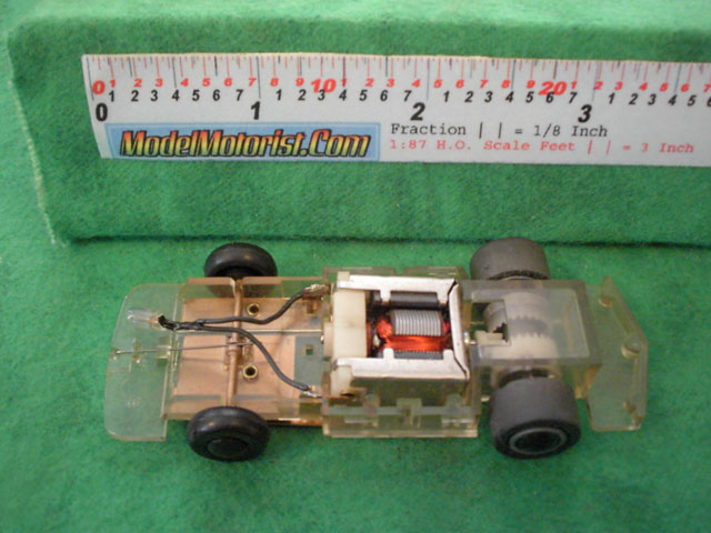 Top view of Tyco Command Control Racing B Car HO Slotless Car Chassis
