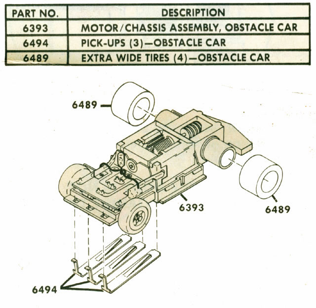 Exploded view of Tyco Command Control Racing Jam Car HO Slotless Car Chassis