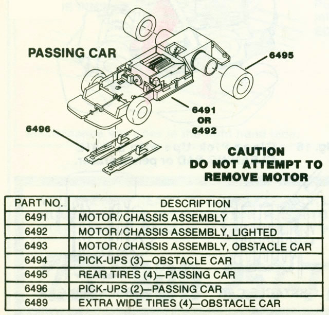 Exploded view of Tyco Command Control Racing A Car HO Slotless Car Chassis
