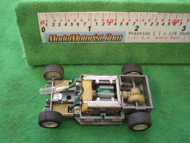 Top view of Tyco HP-2 Lighted Curve Hugger HO Slot Car Chassis