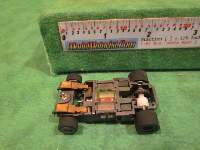 Bottom view of Tyco HP-440-X2 Narrow HO Slot Car Chassis