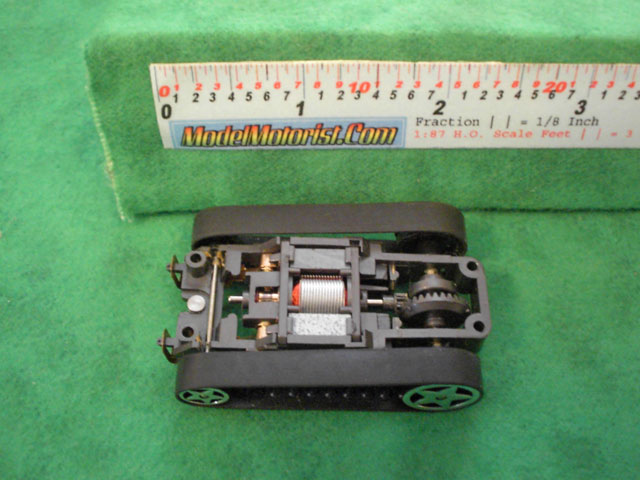 Top view of Tyco Fast Traxx Slot Car Chassis