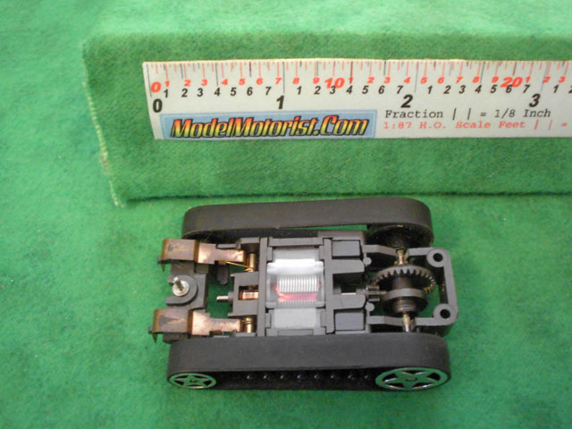Bottom view of Tyco Fast Traxx Slot Car Chassis