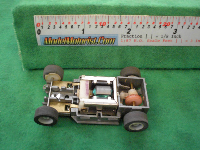Top view of Tyco HP-2 Curve Hugger HO Slot Car Chassis