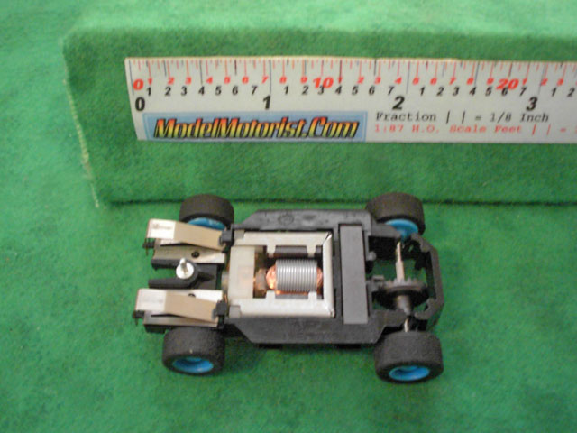 Bottom view of Tyco HP-7 HO Slot Car Chassis