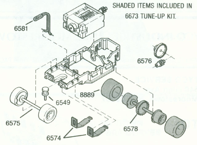 Exploded view of Tyco HP-7 HO Slot Car Chassis