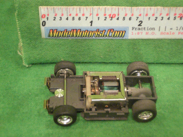 Top view of Tyco Hustler HO Slot Car Chassis