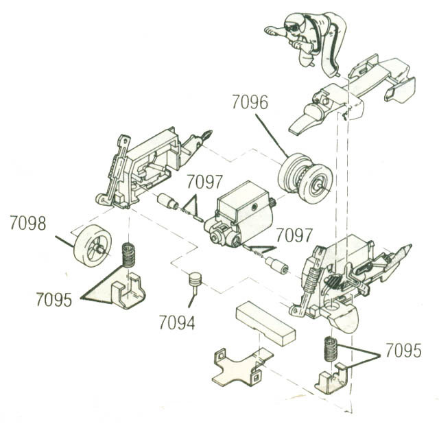 Exploded view of Tyco Motorcycle Slot Car Chassis
