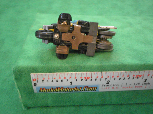 Bottom view of Tyco Motorcycle Slot Car Chassis