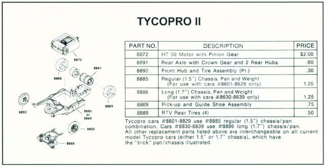 Exploded view of Tyco TycoPro II Lighted HO Slot Car Chassis
