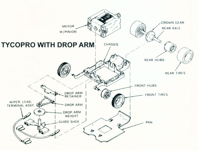 Exploded view of Tyco TycoPro Lighted with Dropdown Arm HO Slot Car Chassis