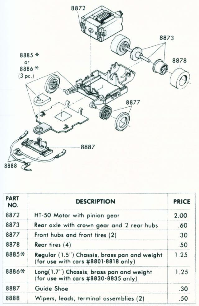 Exploded view of Tyco TycoPro HO Slot Car Chassis